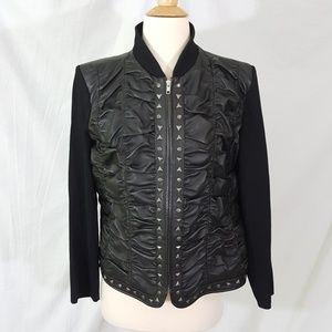 Peter Nygard Petite L LP Leather Jacket Studded